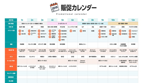 2019年版販促カレンダー