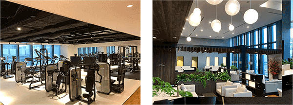三井のオフィス for Tomorrowで利用可能な会員制ジムやラウンジ